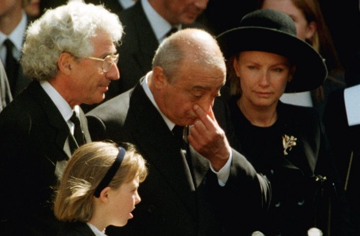 MOHAMMED AL-FAYED WIPES HIS FACE BEFORE DIANA'S FUNERAL