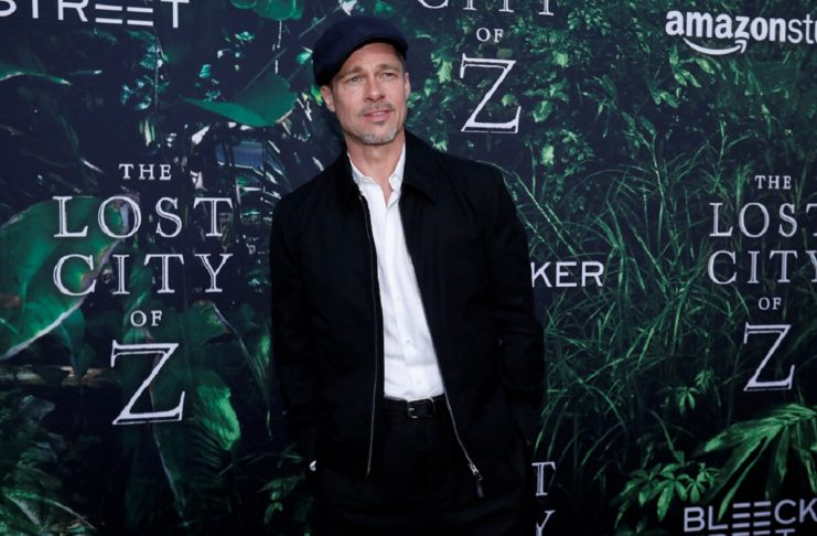 "Producer Pitt poses at the premiere of the movie ""The Lost City of Z"" in Los Angeles"