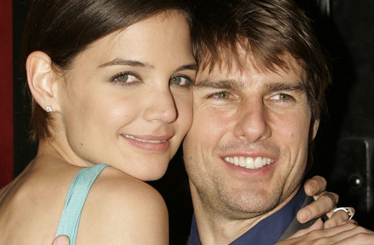 Tom Cruise embraces fiancee Katie Holmes during the red-carpet arriva