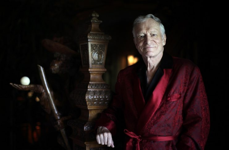 Playboy magazine founder Hugh Hefner poses for a portrait at his Playboy mansion in Los Angeles