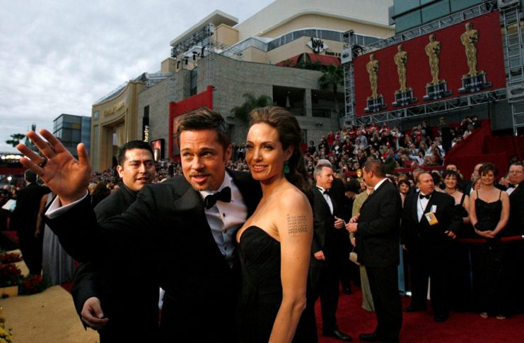 Actors Brad Pitt and Angelina Jolie arrive at the 81st Academy Awards in Hollywood, California