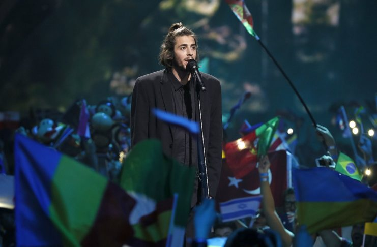 """Portugal's Salvador Sobral performs the song """"Amar Pelos Dois"""" during the Eurovision Song Contest 2017 Grand Final at the International Exhi-bition Centre in Kiev"""