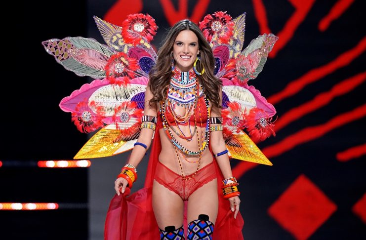 Model Alessandra Ambrosio presents a creation during the 2017 Victoria's Secret Fashion Show in Shanghai
