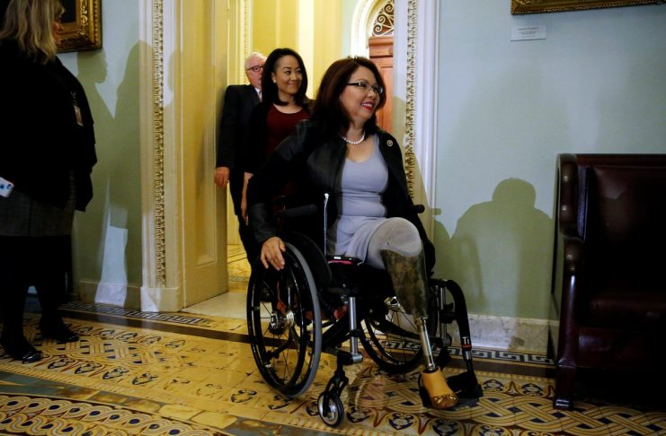 U.S. Senator-elect Duckworth arrives for Senate Democratic party leadership elections at the U.S. Capitol in Washington