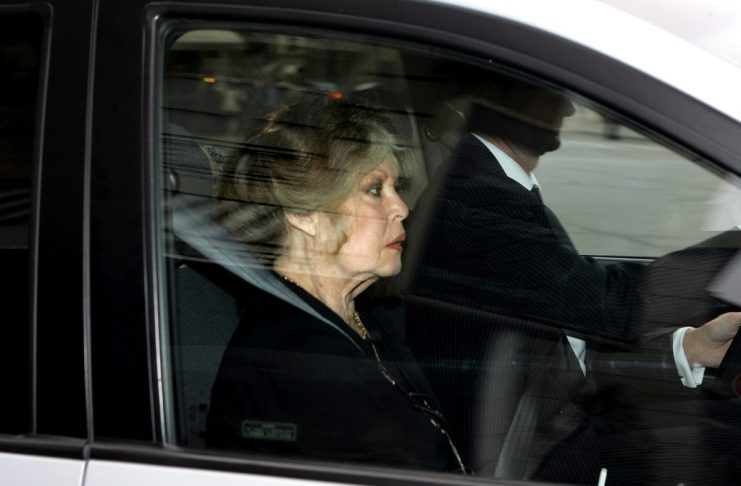 French former actress and animal rights activist Brigitte Bardot leaves the Interior Ministry in Par..