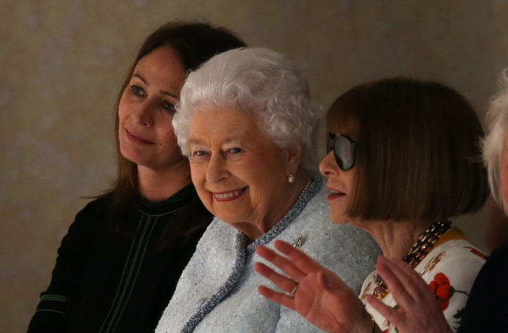 British Fashion Council's Rush, Queen Elizabeth II and Vogue's Wintour attend Richard Quinn show at London Fashion Week