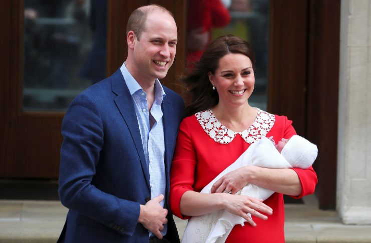 Britain's Catherine, the Duchess of Cambridge and Prince William leave the Lindo Wing of St Mary's Hospital with their new baby boy in London