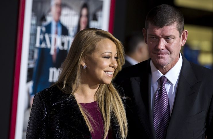 """Singer Mariah Carey arrives with billionaire James Packer for the premiere of """"The Intern"""" in New York"""