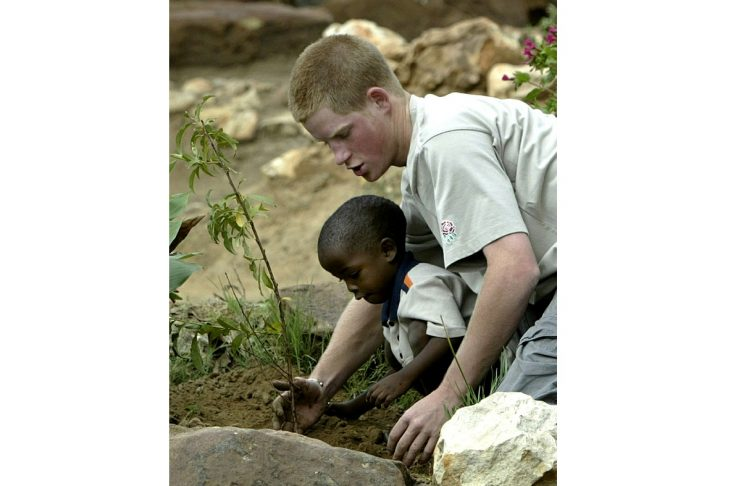 Britain's Prince Harry plants a fruit tree with four-year-old Mutsu in the grounds of the Mants'Ase ..