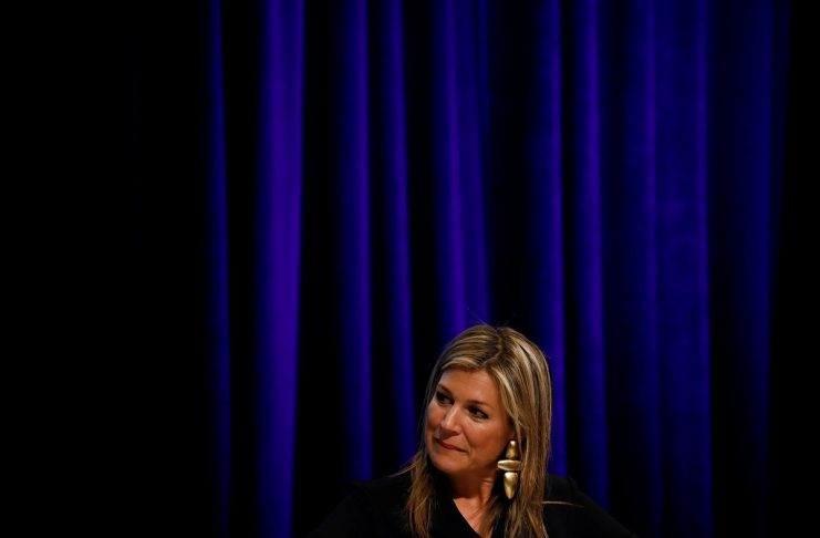 """Queen Maxima of the Netherlands speaks during a panel entitled """"Moving from Financial Access to Inclusion: Leveraging the Power of Technology"""" during IMF spring meetings in Washington"""