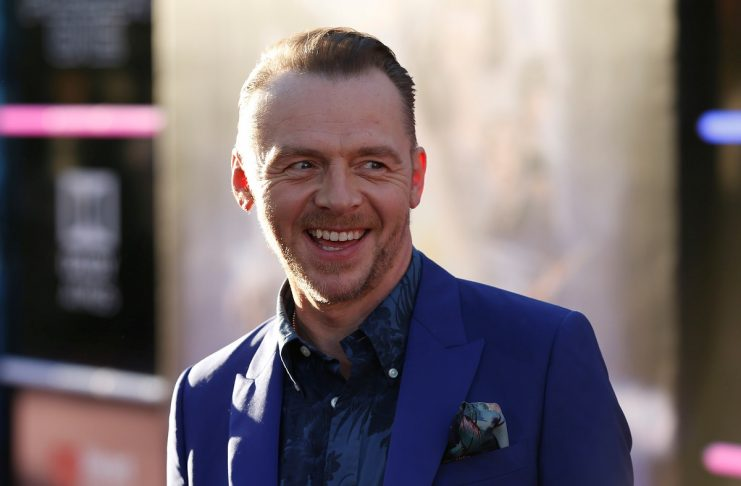 "Cast member Pegg poses at the premiere of ""Ready Player One"" in Los Angeles"